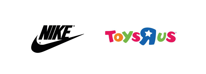 Logotyper för Nike och Toys R Us