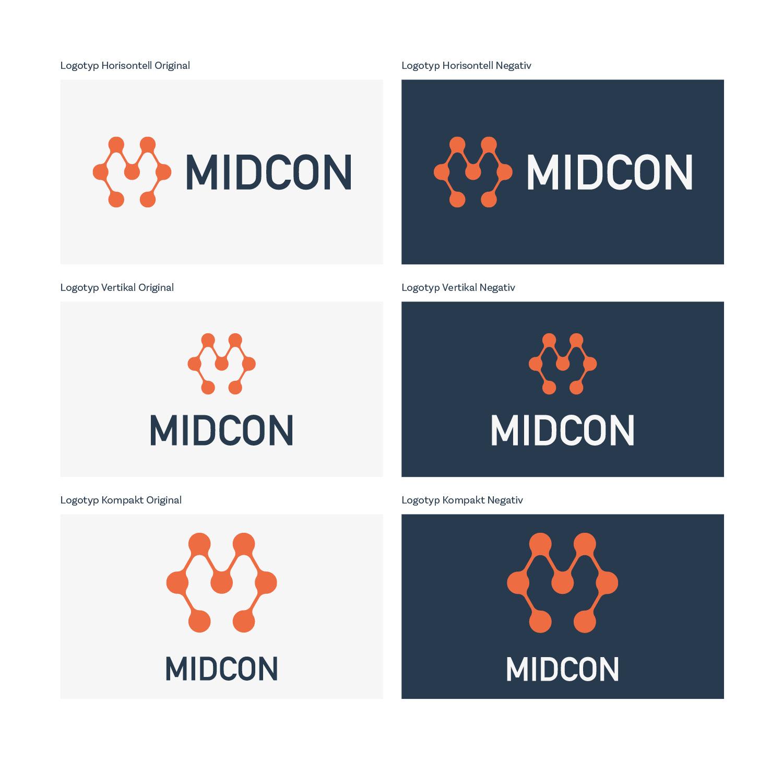 Olika versioner av Midcons logotyp.
